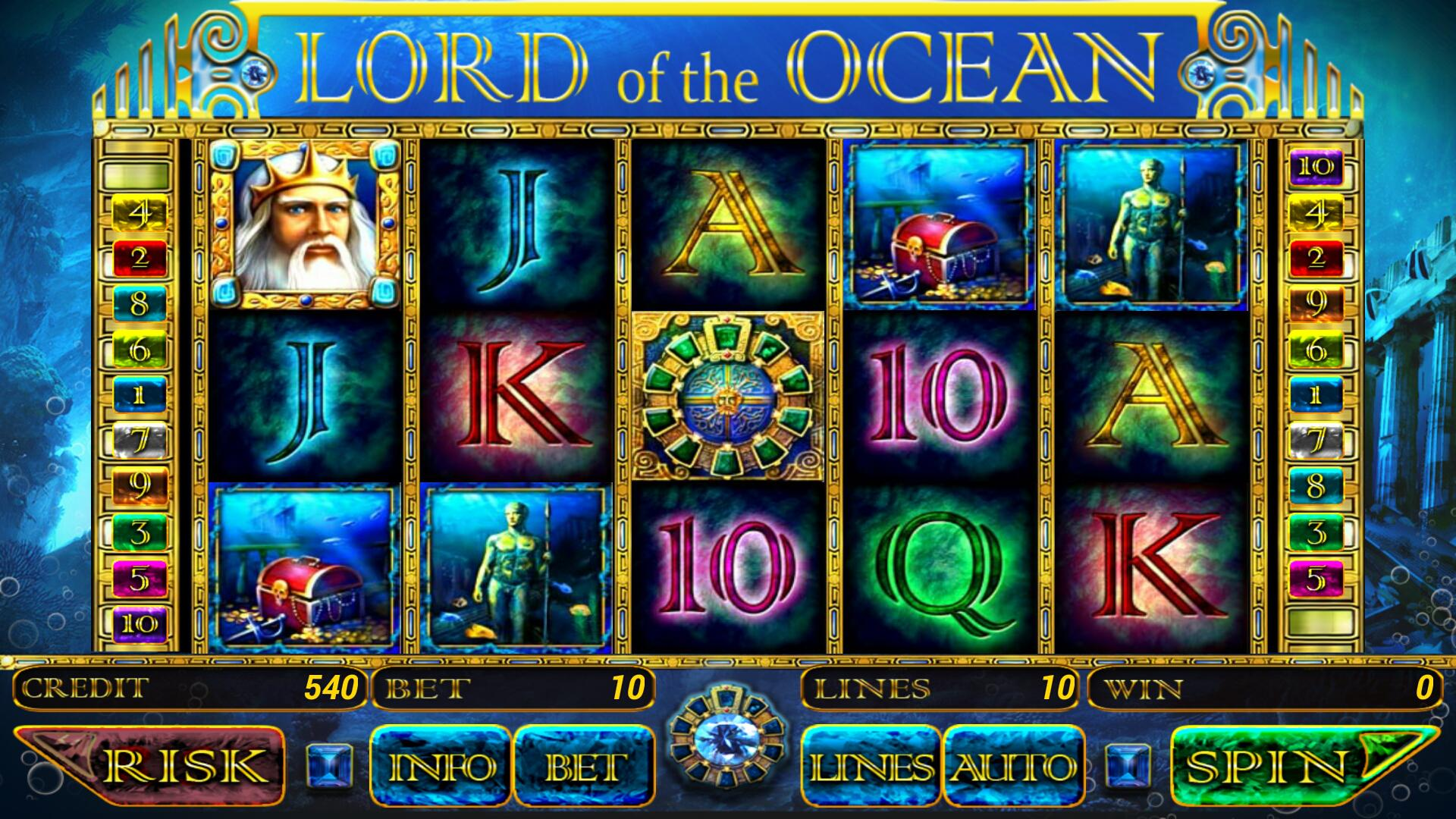 Lord of the Ocean Spielübersicht Display der Slots