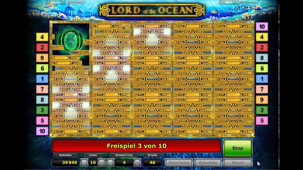Bildschrimanzeige bei Freispielen im Slot Lord of the Ocean